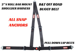 3 Point Seat Belt Clip In Snap In 2 Racing Harness V Roll Bar Mount Black