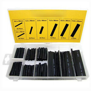10x 127pcs Black Heat Shrink Tube Assortment Wire Wrap Electrical Insulation G3
