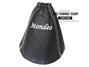 Shift Boot For Ford Mondeo Mk3 01 03 Leather Mondeo White Embroidery
