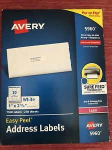 Avery 5960 White Easy Peel Address Labels 250 Sheets 7 500 Labels free Ship