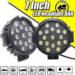 2x 7inch 204w Led Round Spot Driving Light Offroad Truck Work Lamp Fog Lights Us