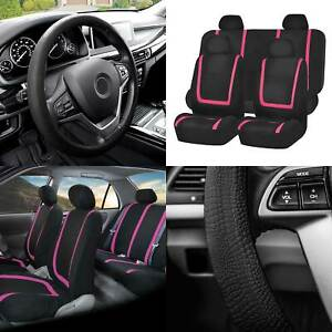 Flat Cloth Car Seat Covers Full Set Pink W black Silicone Steering Wheel Cover