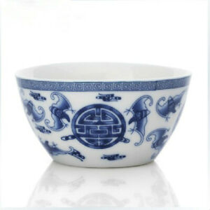 Blue And White Blessing In Front Of The Small Porcelain Bowl Antique