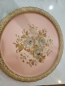 Vintage Nashco Toleware Metal Tray Hand Painted Pink Floral Rose Shabby Chic 18