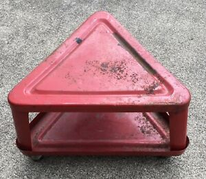 Vtg Triangle Auto Mechanics Metal Roller Seat Wheels Creeper Garage Tool Shelf