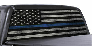 Blue Thin Line Flag Perforated Vinyl Decal Truck Rear Window Sticker Made In Usa