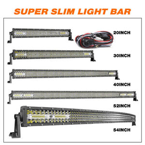 20 30 40 52 54 Inch Curved Led Light Bar Spot Flood Work Driving Offroad 4wd