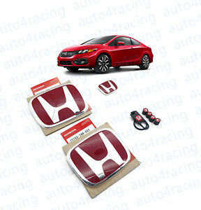 Racing Set Red H Emblem Front Rear Steering Fit 2014 2015 Honda Civic Coupe
