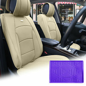 Leatherette Seat Cushion Covers Front Bucket Beige W Purple Dash Mat For Auto