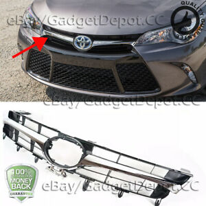 Chrome Hood Front Upper Grill Grille For Camry 2015 2016 2017 Se Xse Replacement
