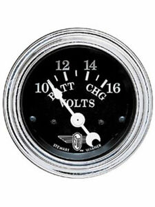 Stewart Warner Gauge Black Wings Voltmeter 10 16v 2 1 16 Elec Black 82482