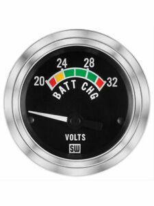 Stewart Warner Gauge Voltmeter 20 32v 2 1 16 Electrical Black 82347