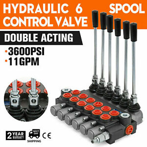 Durable 6 Spool Hydraulic Directional Control Valve Double Acting Cylinder 11gpm