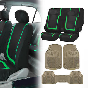 Black Green Seat Covers For Car Suv Auto With Beige Heavy Duty Floor Mats