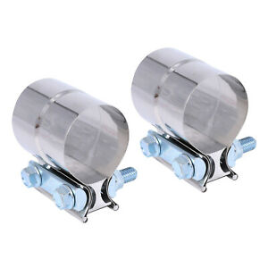 2pcs Stainless Lap Joint Clamp Sleeve Band For 2 5 2 1 2 Exhaust Od Pipe