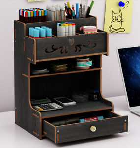 Diy Desk Organizers Wood Office Study Pen Pencil Holder Storage Box Desktop Tray