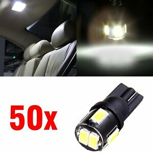 50x T10 6 smd White Led License Plate Light Bulb W5w 194 168 2825 158 For Ford