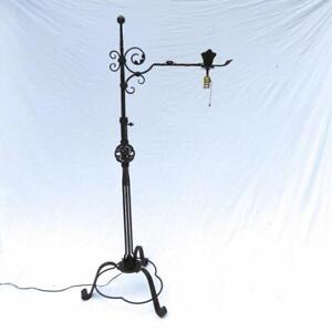 A Large Wrought Iron Adjustable Floor Lamp German Tripod Base Antique Estate