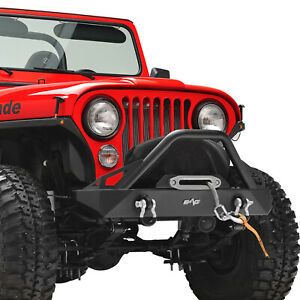 Stubby Front Bumper With Winch Plate Black Fit For 76 86 Jeep Wrangler Cj
