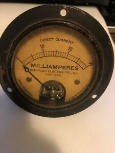 Rare Wappler Electric Co Jewell Instrument Ammeter Antique Steampunk Gauge 3 75