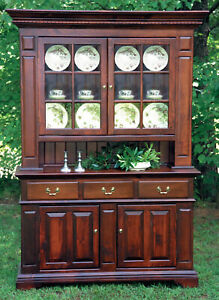 Large Pine China Hutch Craftsman Made Hand Carved Doors And Front Panels New
