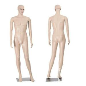 6ft Plastic Male Full Body Realistic Mannequin Metal Base Head Turns Display