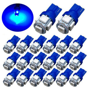 20pc Dc12v T10 Blue 5050 5smd Led Wedge Car Light Bulb 194 168 2825 W5w