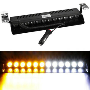 12 Led Emergency Warning Flash Strobe Light Beacon Visor Lamps Amber White