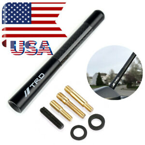 Black Short Carbon Fiber Car Antenna 4 7 Trd Logo Fit Toyota Camry Yaris Tocama