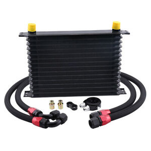 15 Row 10an Engine Transmission Oil Cooler Kit Oil Filter Relocation Adapter Kit