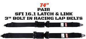 Hot Rod 74 Lap Belts 2 Point Sfi 16 1 Seat Belts Latch Link Bolt In Black