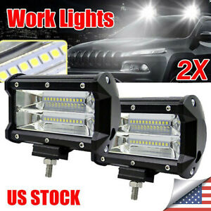 5inch 12v 672w Led Work Light Bar Flood Combo Pods Driving Off road Tractor 4wd