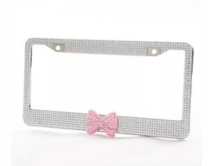 License Plate Frame With Bling Diamond Crystals With Pink Bow Tie