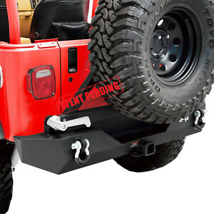 Rock Crawler Rear Bumper With Tire Carrier Fit 87 06 Jeep Wrangler Tj Yj