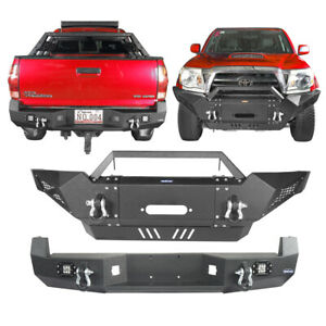 Hooke Road Front Rear Step Bumper W Winch Plate Fit Toyota Tacoma 2005 2015
