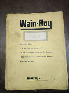 Wain roy f Series Backhoe Cat D3 931 Parts And Installation Manual