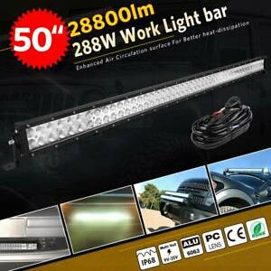 4d Lens 50inch 288w Led Light Bar Combo Driving Lamp 4wd Boat Free Wires 48 52