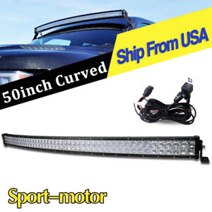 50inch 288w Curved Led Work Light Bar Combo Wiring Harness Offroad For Jeep Suv