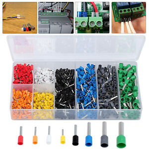 1200pcs Assorted Electrical Wire Terminals Set Insulated Crimp Connector Kit Us
