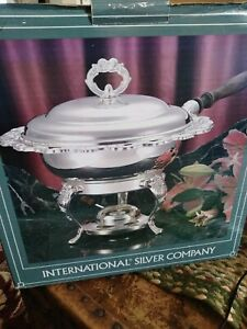 Vintage Int L Silver Co Chafing Dish With Warmer Pyrex Dish Lid And Handle