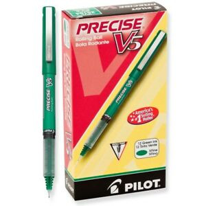 25104 Pilot Precise V5 Premium Rolling Ball Pen Ex Fine 0 5mm Green Pack Of 36