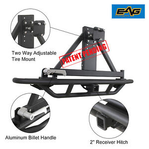 Eag Fits 87 06 Jeep Wrangler Tj Yj Tubular Rear Bumper With Tire Carrier Black