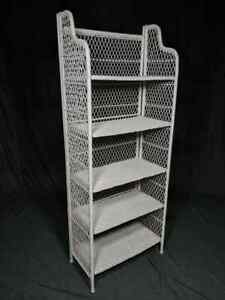 Mid Century White Wicker Bookshelf Floor Shelf Boho Chic Rattan 5 Tier Vintage