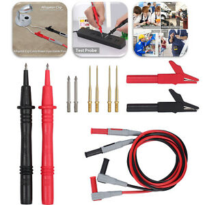 Multimeter Test Lead Kit Probe Alligator Clips 12 In 1 Set For Fluke Meter Power