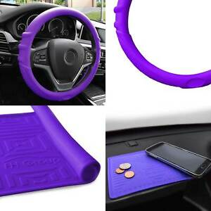 Purple Silicone Steering Wheel Cover With Pueple Dash Mat For Auto Car Suv
