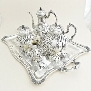 5pc Antique French Sterling Silver Tea Coffee Service Set By Veyrat