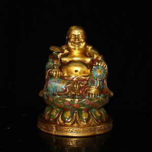 Chinese Exquisite Handmade Copper Cloisonne Buddha Statue