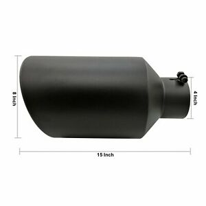 4 Inlet 8 Outlet 15 Inch Long Exhaust Tip Black Stainless Steel Bolt On Diesel