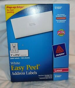 Avery Easy Peel Address Labels For Laser Printer 1 X 25 8 White 3000 Per Box