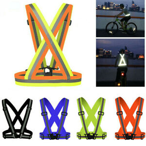 Safety Reflective Vest Adjustable Reflector Gear Strap Belt For Running Cycling